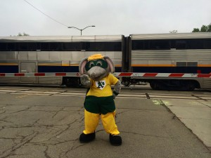 Stomper on location for Capitol Corridor's rail safety video shoot.