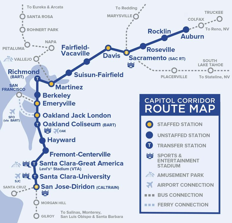 Capital Corridor Train Route Map for Northern California on oklahoma railroad map, san francisco railroad map, michigan railroad map, british columbia railroad map, california railroad map, houston area railroad map, oakland railroad map, marta route map, el dorado county railroad map, colorado railroad map,